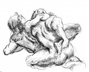 """Wrestling with a Notion"", pencil by Tim Holmes"