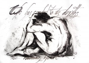 """Who Has Sounded to its Depths the Human Heart?"" Ink and monotype by Tim Holmes"