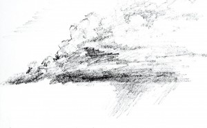 """Whispy Clouds"", pencil by Tim Holmes"