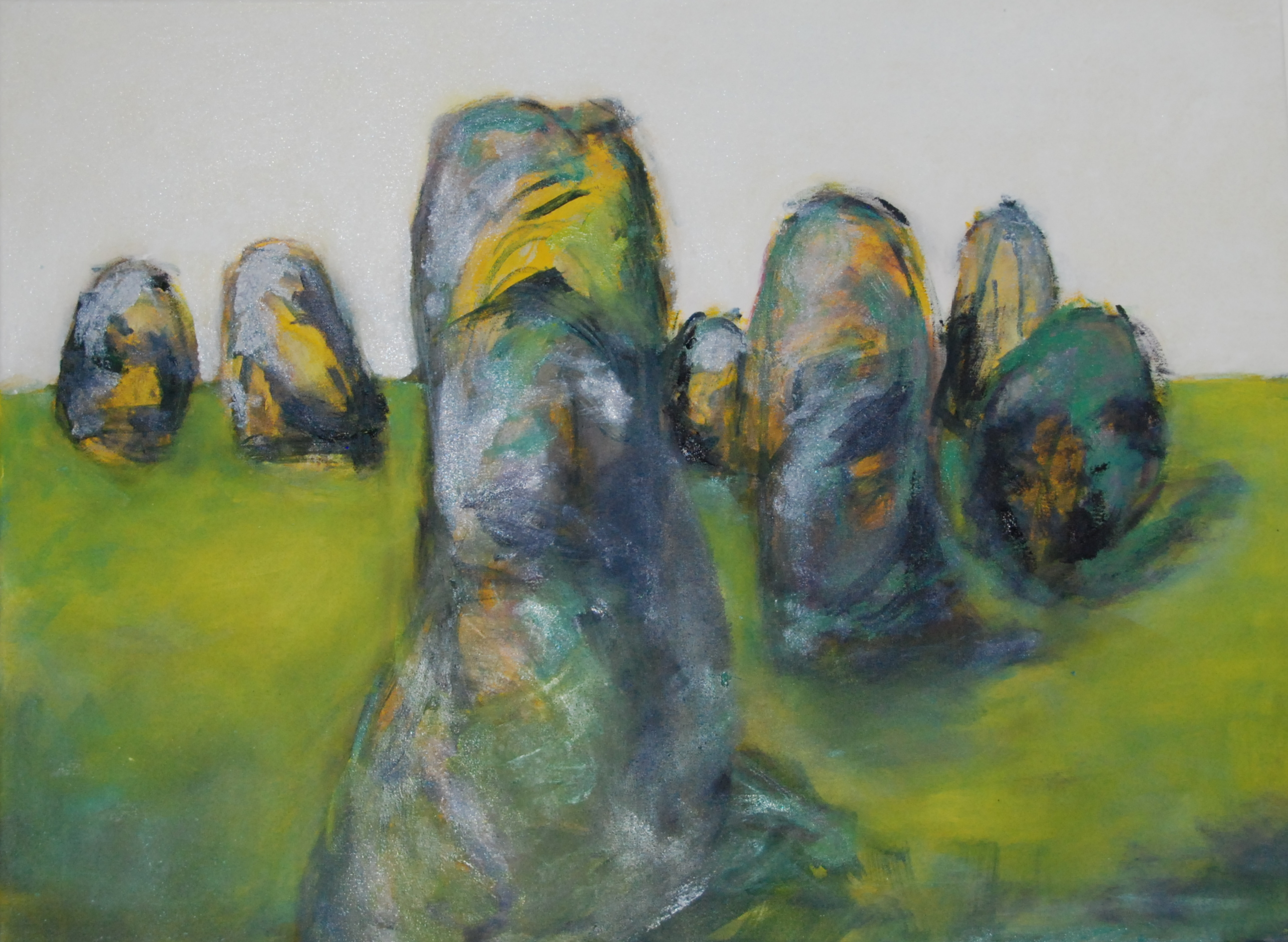 """Stone Circle 8""  60 x 80cm, Oil on hemp;  2015"