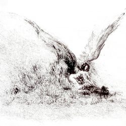 """Angel Hunt"", monotype by Tim Holmes"