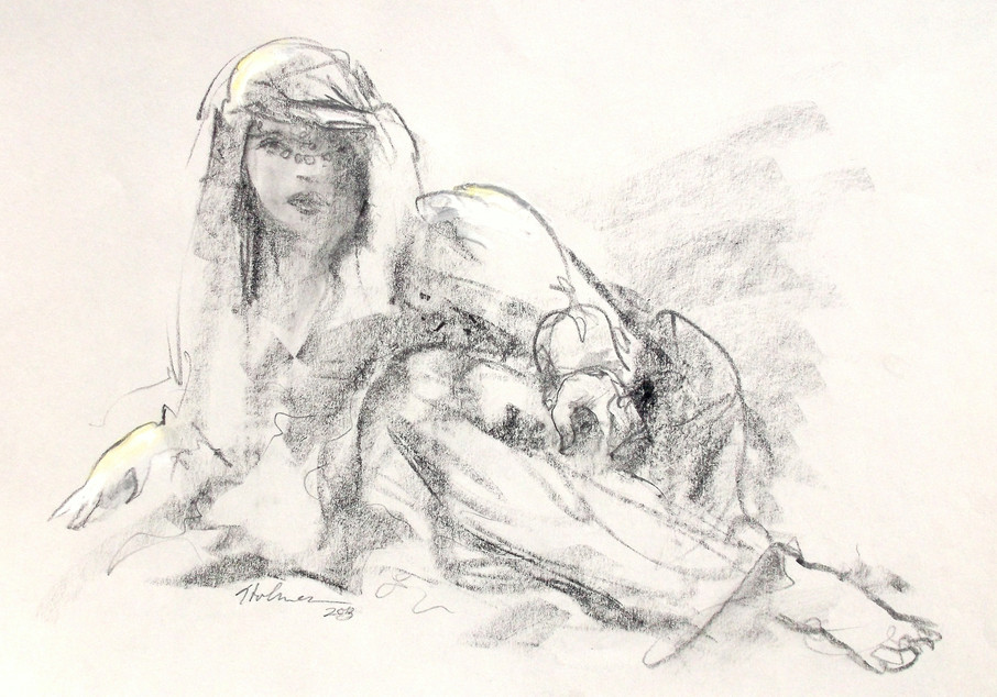 """""""She Came Without Instruction"""", graphite, chalk by Tim Holmes"""